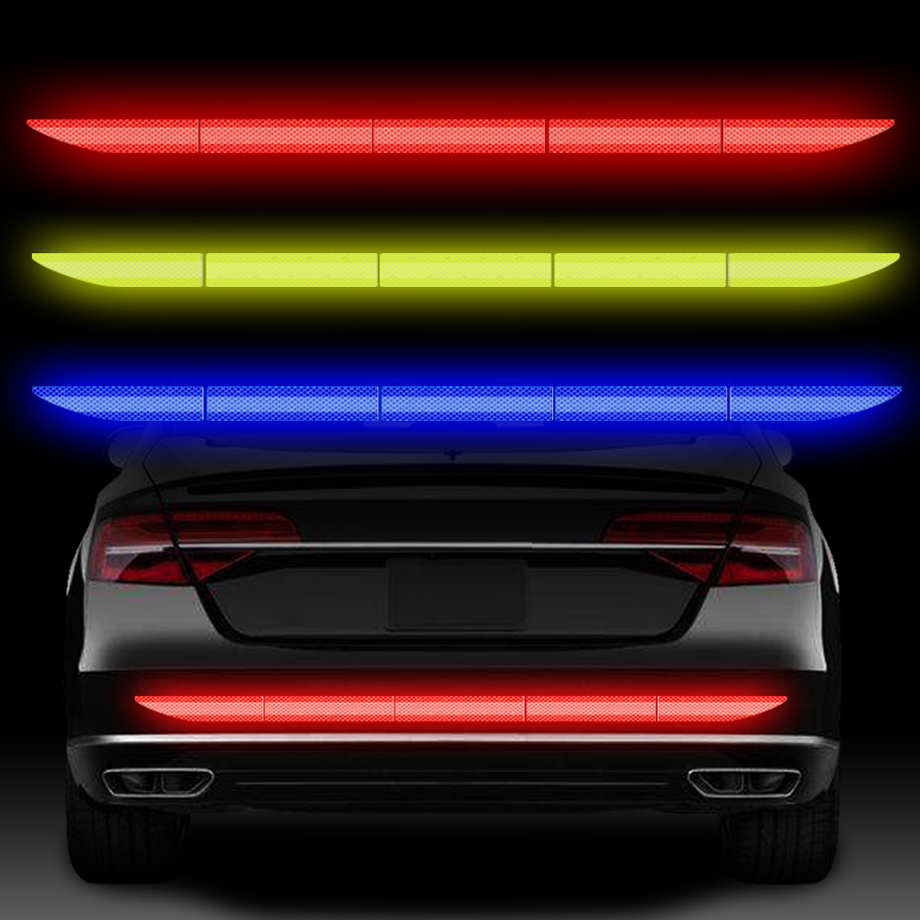 5pcs Car Reflective Sticker Warning Strip Tape Traceless Protective Car Sticker Warn Mark Trunk Exterior Auto Accessories