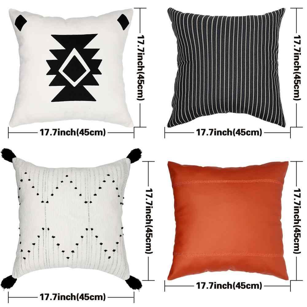 OurWarm Boho obicia na poduszki paski rzuć poduszka 45Cm x 45Cm kwadratowa Sofa i krzesło poduszka dekoracyjna skórzana poszewka na poduszkę