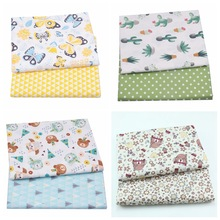 2PCS Floral Butterfly 100% Cotton Printed Fabric For Baby Child, Sewing Quilting Fat Quarter Kids Star Plaid DIY Patchwork Cloth