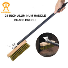 SHANGPEIXUAN Professional Pizza Oven Copper Brush Scraper Household Grill Brass Cleaning Brush with 21 inch Aluminium Handle