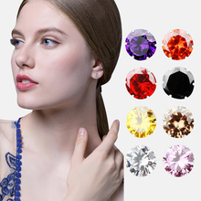 Hot Sales 925 Silver 8mm Mini Fashion Women Jewlery Crystal Stud Earrings Prevent allergy