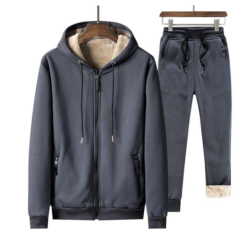 Winter Inner Fleece Hoodies Men 2020 Casual Warm Sweatshirts Thicken Tracksuit 2PC Jacket+Pant Men Moleton Masculino