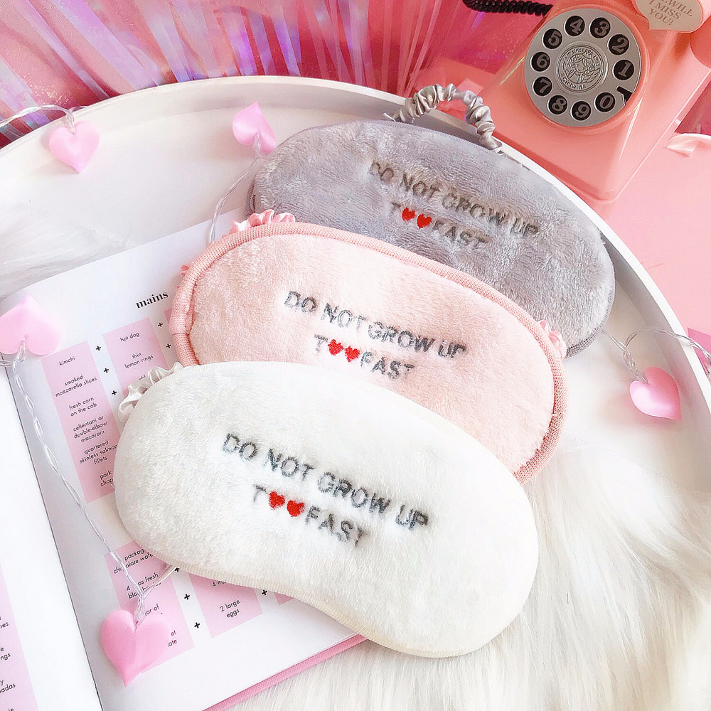 1Pc New Cute Heart Embroidery Eye Mask Cartoon Cloud Sleeping Mask Plush Eye Shade Cover Eyeshade For Travel Home Party Gifts