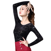 New modern dance practice clothes female adult small shirt Latin shirt sexy dance clothes top DB255