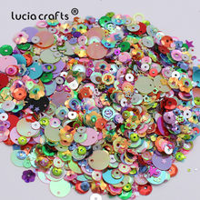 Lucia crafts 20g/lot Mix Sizes/Shapes Flake Cup Confetti Loose Sequins Paillettes Sewing&Wedding Accessories D0902(China)