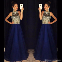 A Line Royal Blue Prom Dresses High Neck Beaded Crystals Chiffon Long Evening Dresses Prom Gowns