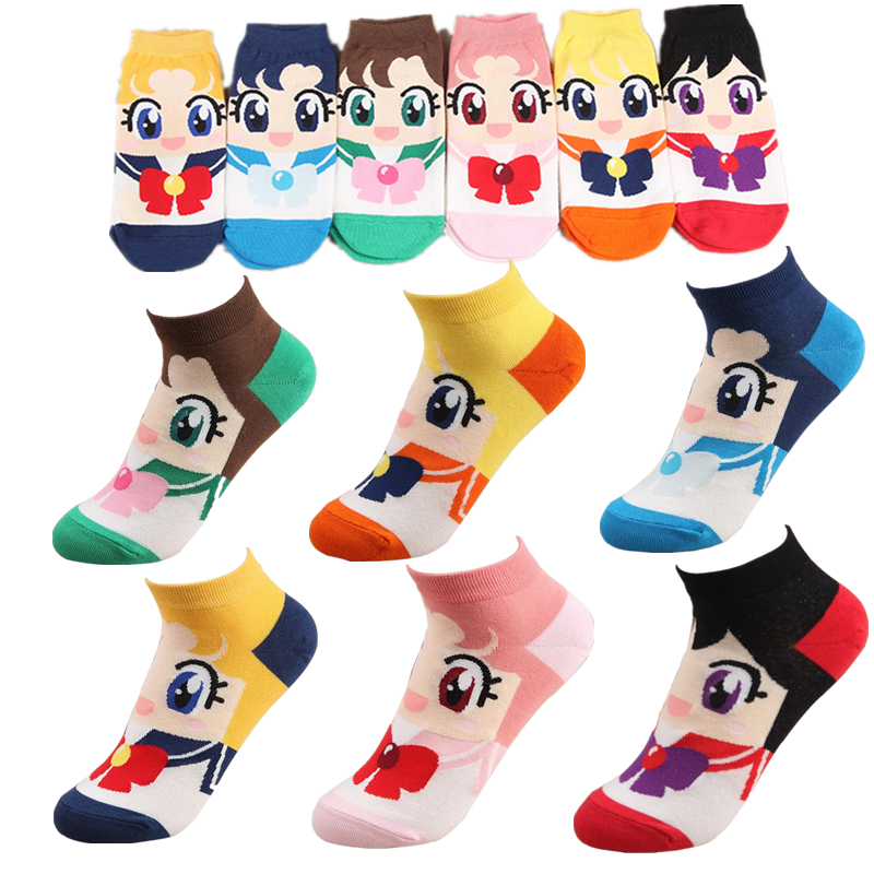 Anime Sailor Moon Cosplay Cotton Sock Kawaii Ankle Socks Adult Stockings
