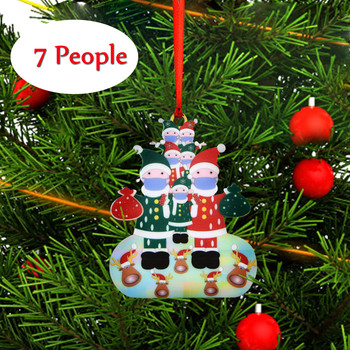 2020 Quarantine Christmas Ornament Wearing Mask Ornaments,2020 Badly,but Yay Merry Christmas Tree Family Decoration Navidad image