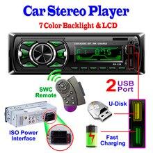 1 Din Bluetooth автомобильный Радио MP3 плеер Автомобильный аудио стерео Bluetooth радио FM AUX Handsfree Вызов SWC-Romote Авторадио