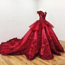 Doce 16 vermelho escuro quinceanera vestidos fora do ombro 3d floral applique meninas vestido de baile pageant vestidos formal vestido de noiva