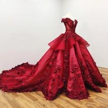 Słodki 16 ciemno czerwony Quinceanera sukienki Off The Shoulder 3D aplikacja kwiatowa dziewczyny suknia korowód suknie formalna suknia ślubna