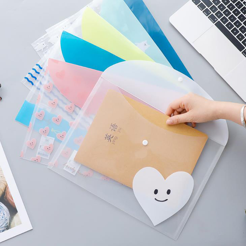 4 Pcs/set Cute A4 Smile Heart White Bear PP Transparent Document Bags Pocket File Folder Organizer School Stationery Gifts