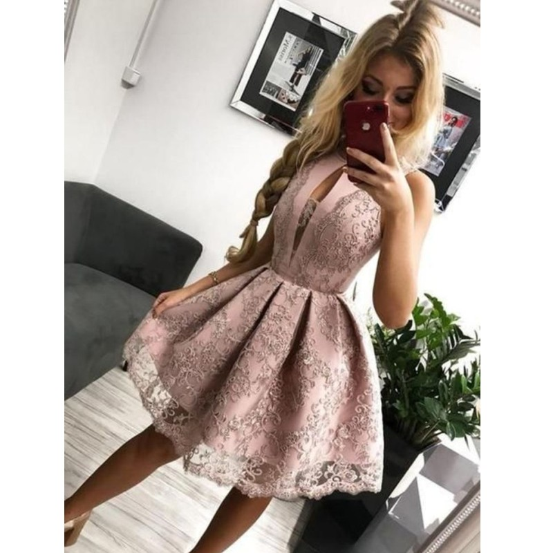 Cocktail Dresses Short Arabic Pink Lace Prom Homecoming Dress 2019