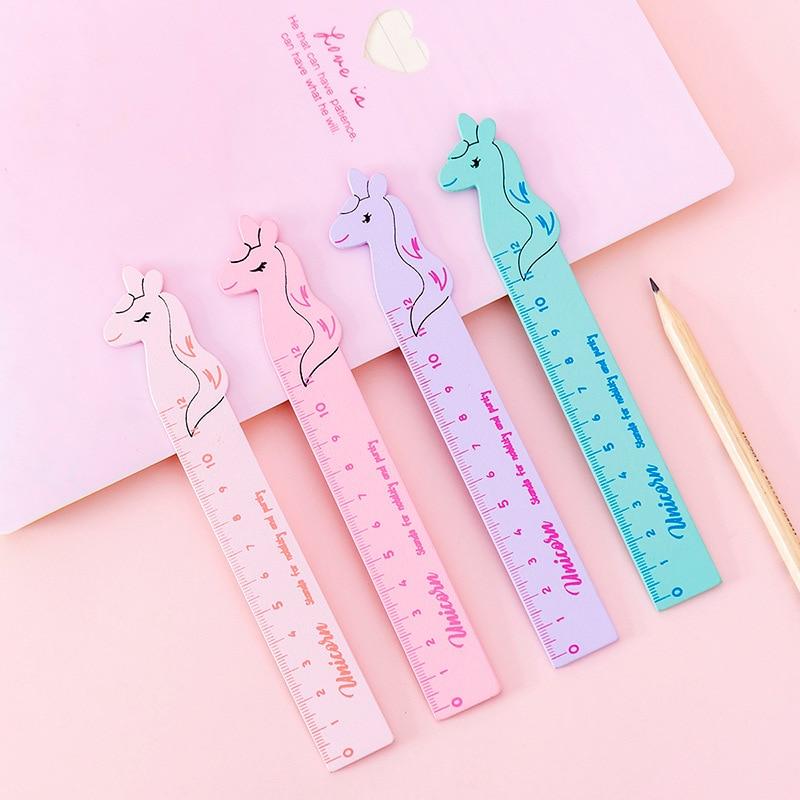 Kawaii 12CM Unicorn Wooden Ruler Cute Straight Scale Drawing Ruler School Kids Parallel Rule Drafting Tools Korean Stationery
