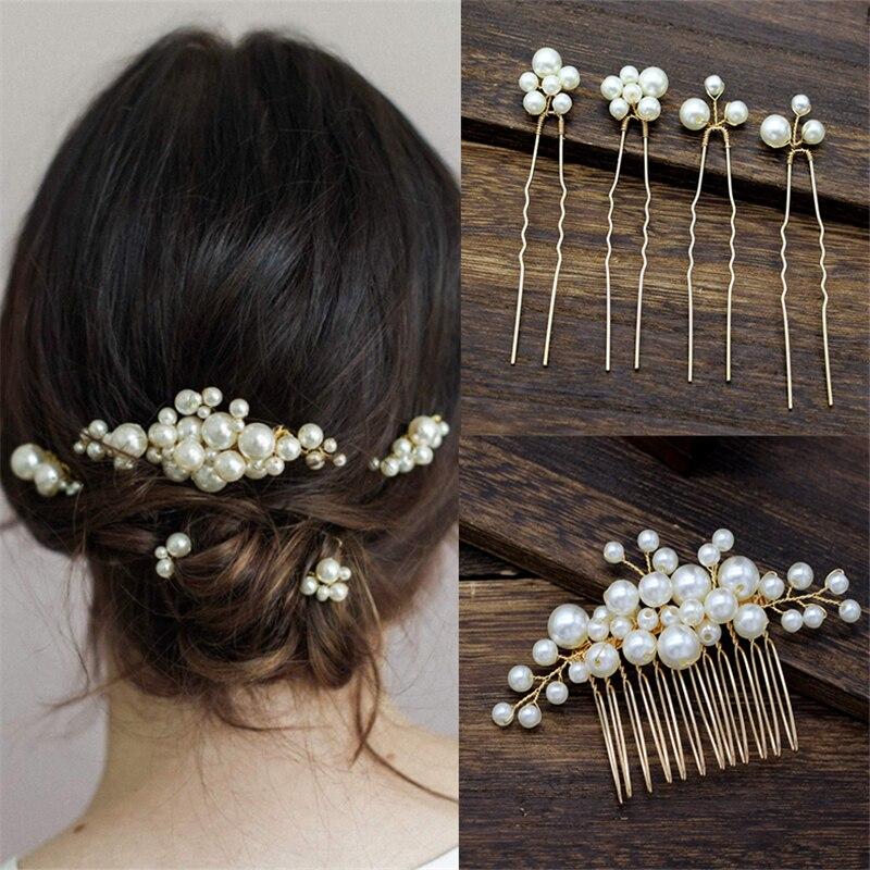Женская заколка для волос с жемчугом, свадебный аксессуар для волос, украшения для волос ручной работы