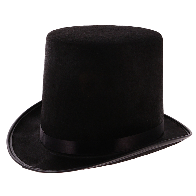 2pcs Halloween Top Hat Stage Performance Black Topper Ring Master Magician