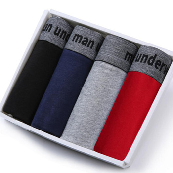 4Pcs Boxer Shorts Underpants Man Mens Panties Men Underwear Cotton for Male Couple Sexy Set Calecon Large Size Lot Soft