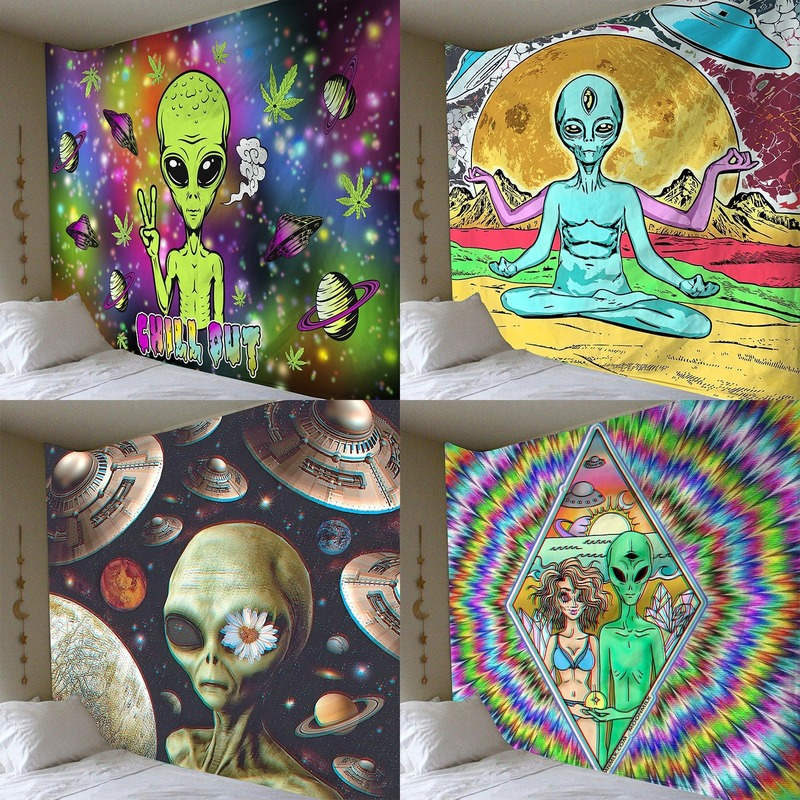 Alien tapestry Home decoration psychedelic wall cloth Anime pattern wall carpet cloth art