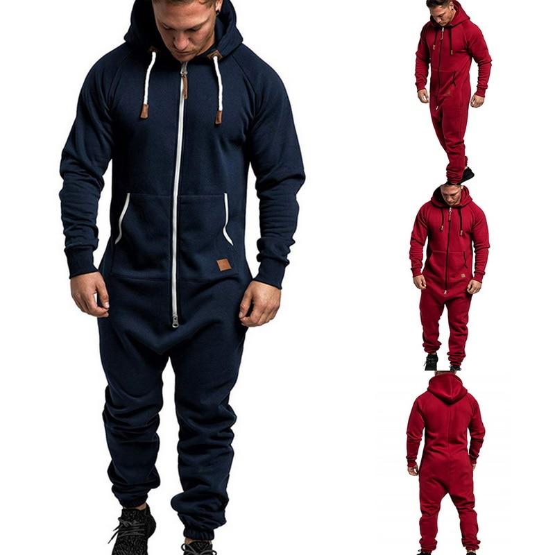 2019 Fashion Men Jumpsuit Classic Pajama Autumn Winter Casual Hoodie Solid Color Zipper Jumpsuits Hombre Hot Sale Men Streetwear