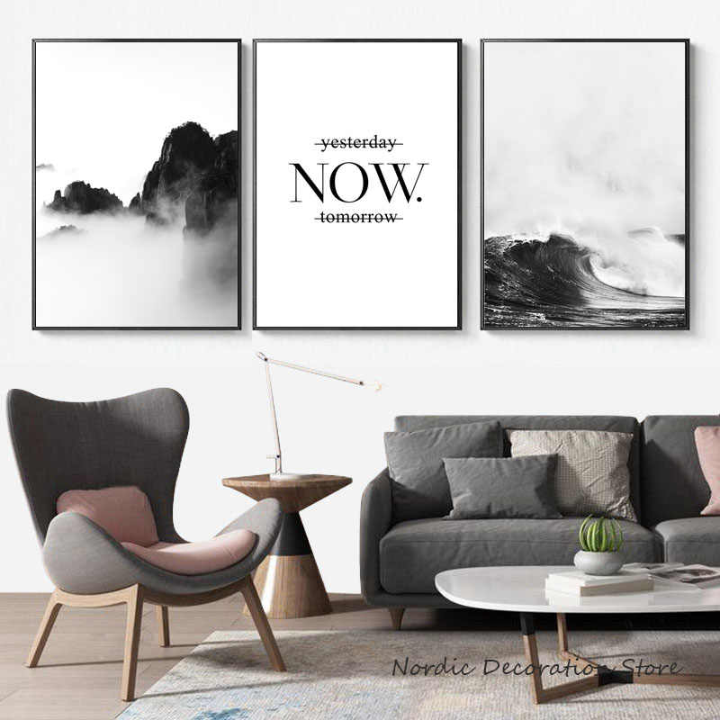 Nordic Poster Mountain Wall Art Canvas Painting Sea Poster Print Wave Posters Quotes Wall Pictures For Living Room Decoration