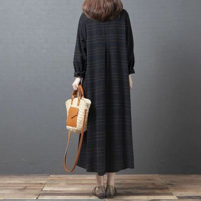 Uego Plaid Fashion Blouse Dress Long Sleeve New Autumn Dress Cotton Linen Loose Women Dress Plus Size Female Casual Spring Dress 3