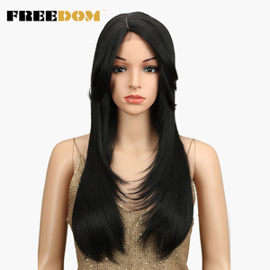 FREEDOM 24 inch Long Straight Ombre Lace Front Synthetic Wigs For Black Women Red Black Lace Front Wig Heat Resistant Fiber