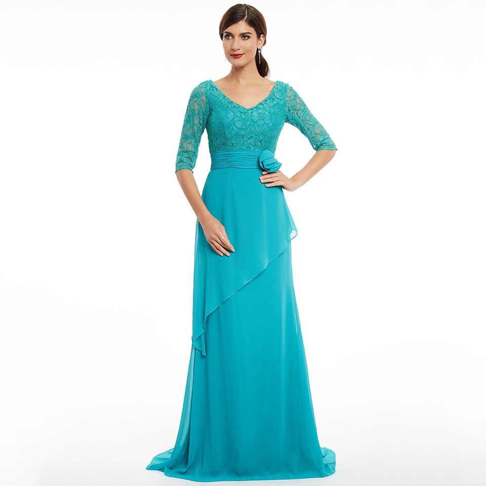 Dressv azul longo vestido de noite barato v neck mangas meia partido da flor do casamento vestido formal uma linha de vestidos de noite