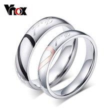 Vnox-anillos de boda personalizados para hombre y mujer, 1 unidad