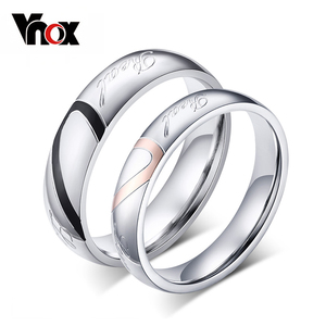 Vnox Classic Personalized Wedding Rings for Women Men Engrave Name Servise 1Piece
