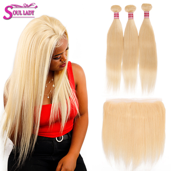 Soul Lady 613 Bundles With Frontal Brazilian Straight Transparent Lace Frontal With 8-30 inches Bundles 4Pcs/Lot Remy Human Hair