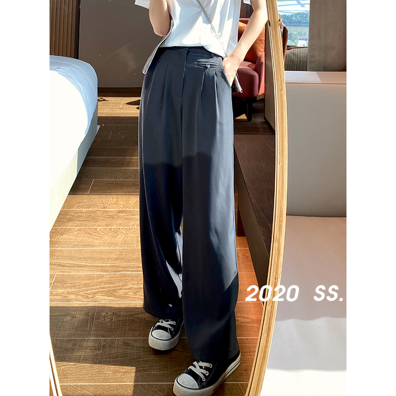 MISHOW 2020 Summer New Pants Women Fashion Casual Solid Long Trousers High Waist Pleated Loose Clothing MX20B2156