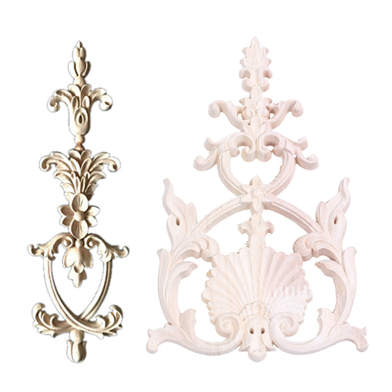 2 Pcs Rubber Wood Carved Applique Vintage Furniture Craft Decor , 25 X 5Cm With 19 X 12Cm