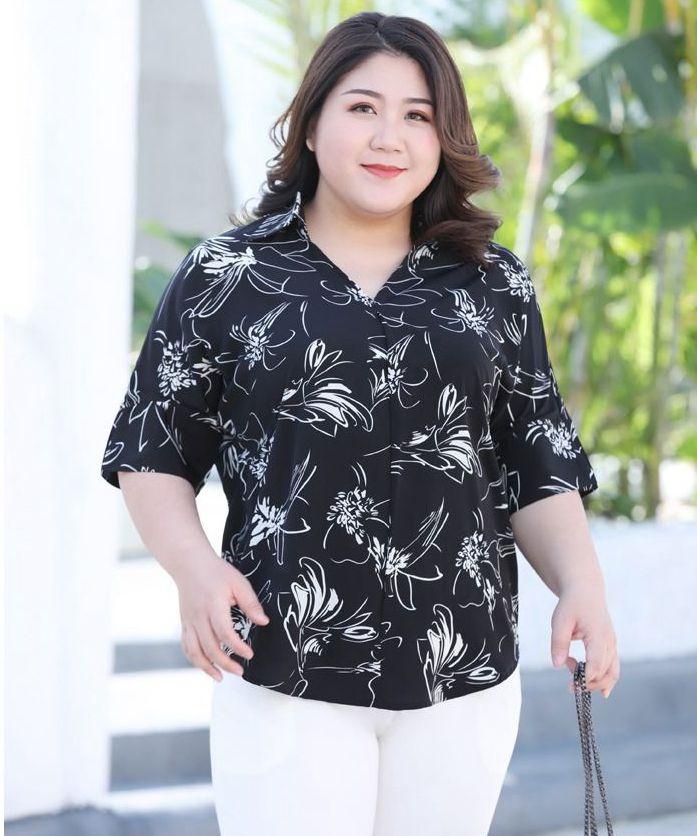 2XL-6XL Super Large Plus Size Summer Chiffon Blouses For Woman D032 Black Print Fashion New Style Ladies Female Office Blouses