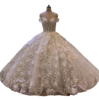 High end Vintage Lace Princess Style Ball Wedding Dress Beading Tassel Fashion Sexy Off Shoulder Silver Lace Bridal Gown