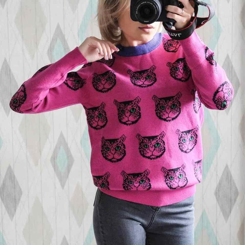 原宿ファッション女性セーター暖かい漫画猫高品質 2 サイズ冬の女性のカジュアルプルオーバーニットトップ C-192