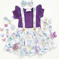 2020 New Summer Newborn Infant Baby Girls Clothing Set Flying Sleeve Romper + Suspender Skirt+Headband Clothes Outfits
