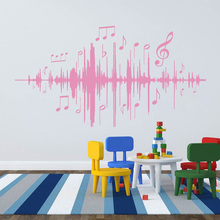 Music Audio Note Wall Decal Musical Frequency Wall Stickers Vinyl For Bedroom Kids Room Nursery Living Room Home Decor E216 цена 2017
