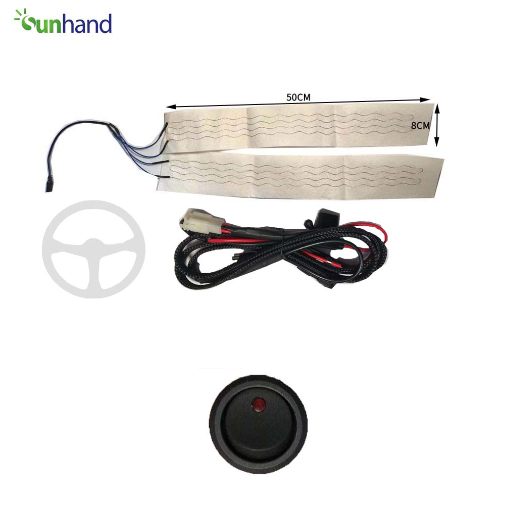 12 В Комплект руля с подогревом и круглым переключателем, рулевое колесо с подогревом для автомобиля