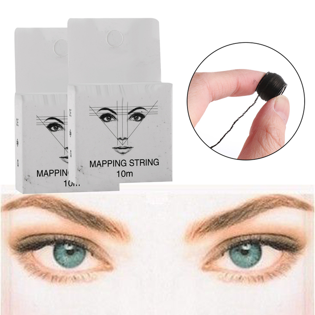 1Pc Microblading MAPPING STRING Pre-Inked Eyebrow Marker thread Tattoo Brows Point 10m Pre Inked tattoo PMU string for Mapping 1