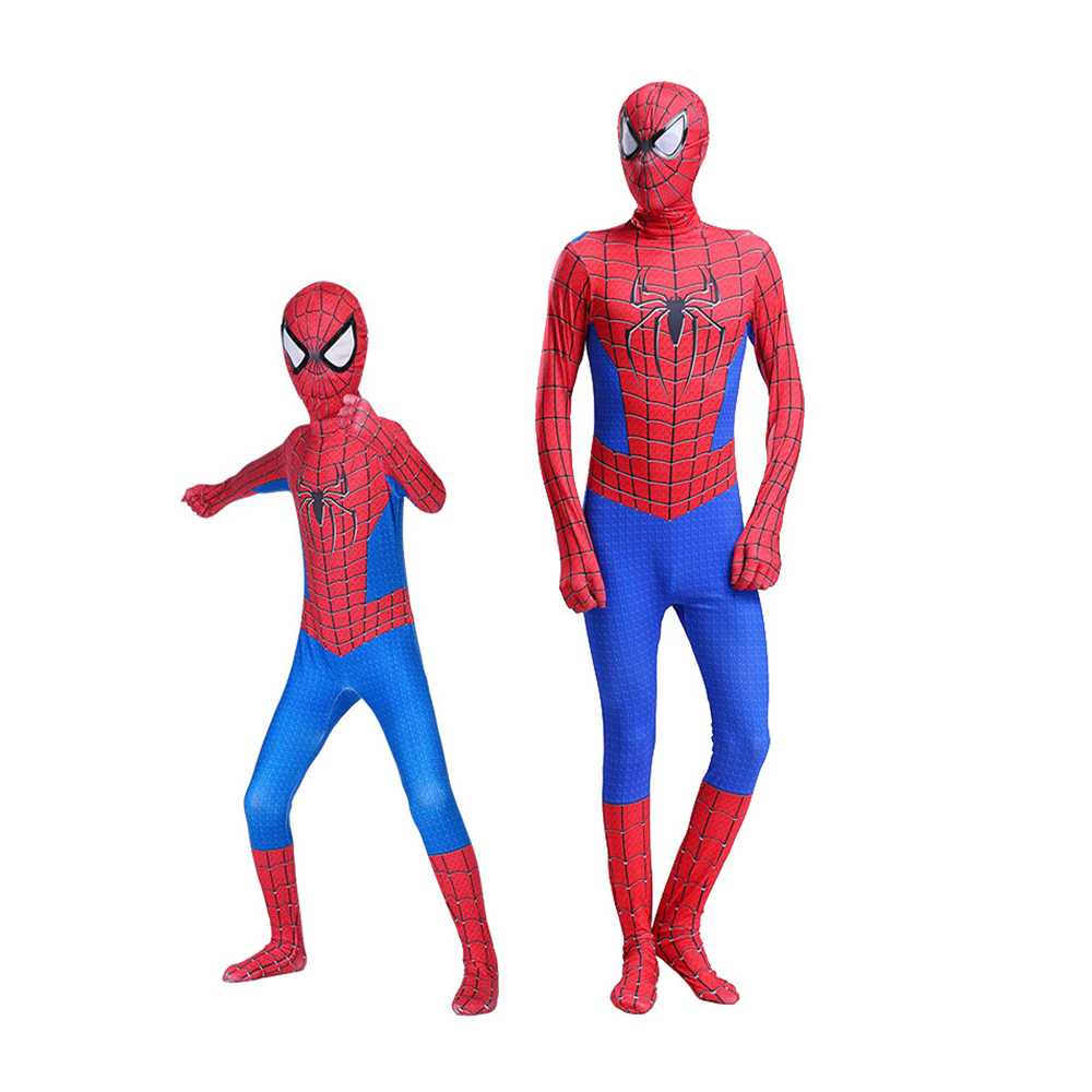 High Quality spider boy Costume Fancy Dress Adult And kid man Halloween Costume Red Black man Spandex 3D Cosplay Clothing 6