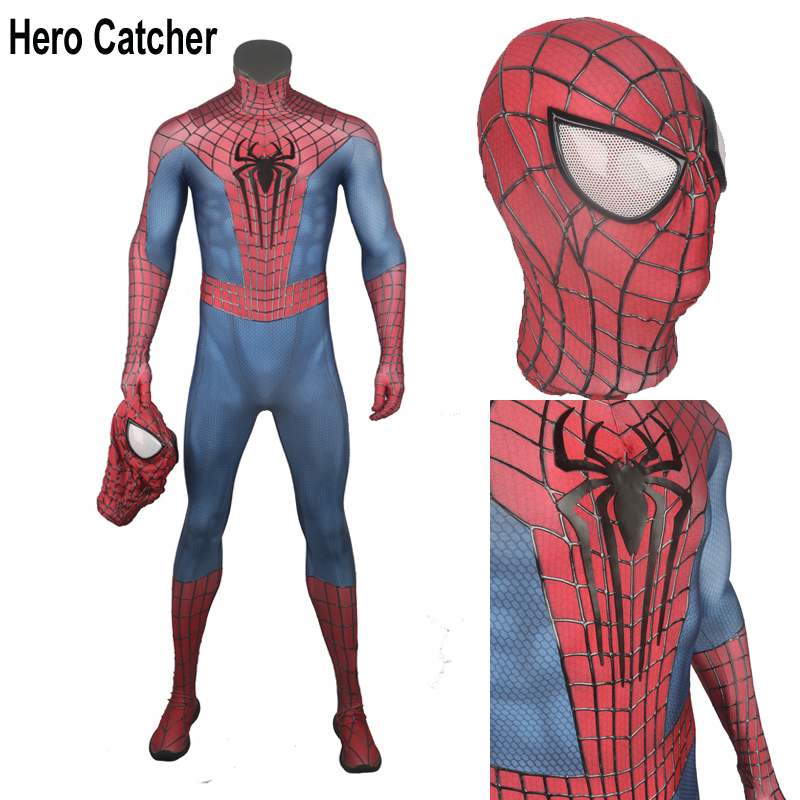 Hero Catcher Top Quality Muscle Shade Amazing Spider Man Cosplay Costume With Relief Webs Relief Spider 3D Webs Spiderman Costume