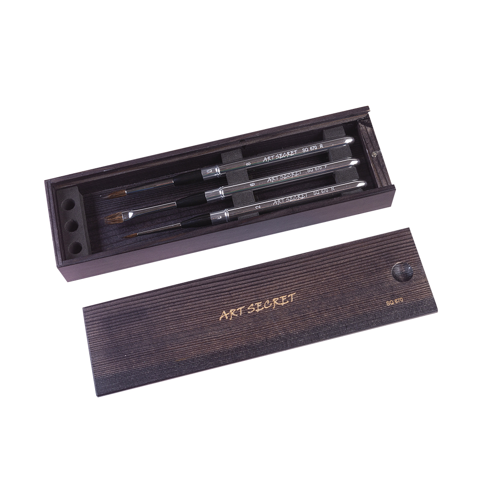 High Quality SQ670 3PC/set Squirrel Mixed Hair Brass Ferrule Aluminum Cap Wooden Case Watercolor Art Brush Set