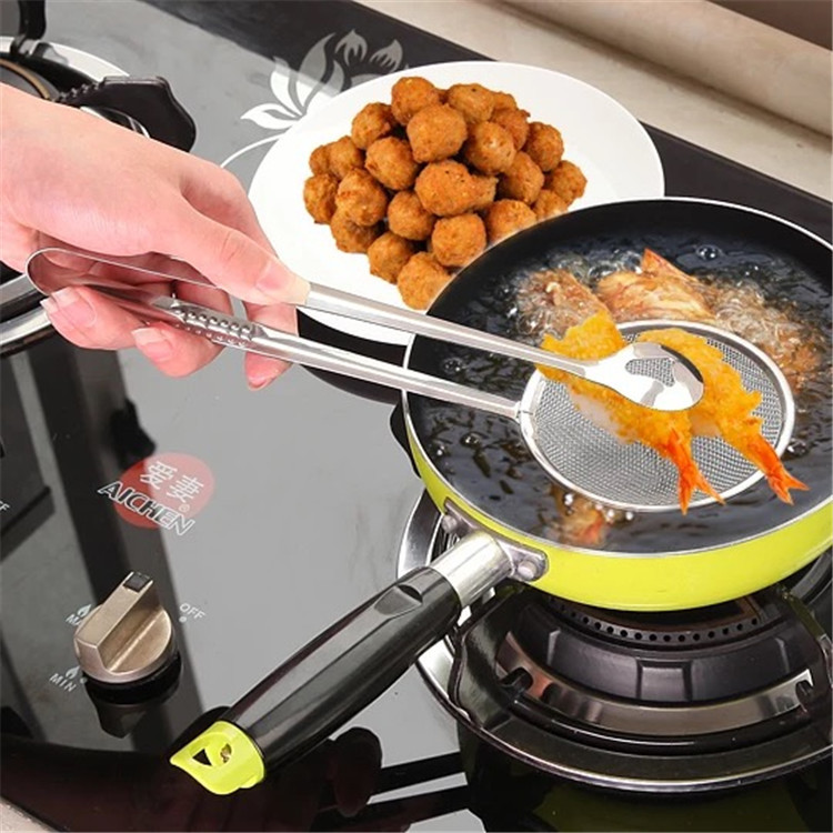 1pcs Hot Sale Stainless Steel Fried Food Strainer Practical Kitchen Oil-Frying Salad BBQ Filter Spoon Clip Kitchen Accessories