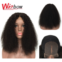 Afro Kinky Curly Wig 4x4 Pre Plucked Lace Wigs 150% Density Peruvian Remy Short Lace Front Human Hair Wigs For Women