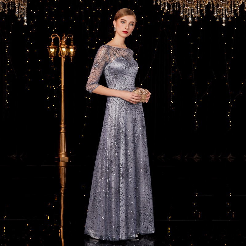 2020 A-Line Tulle Mother of the Bride Dresses Long with Sequins Wedding Party Dresses Formal Gowns Elegant Mother Custom Made