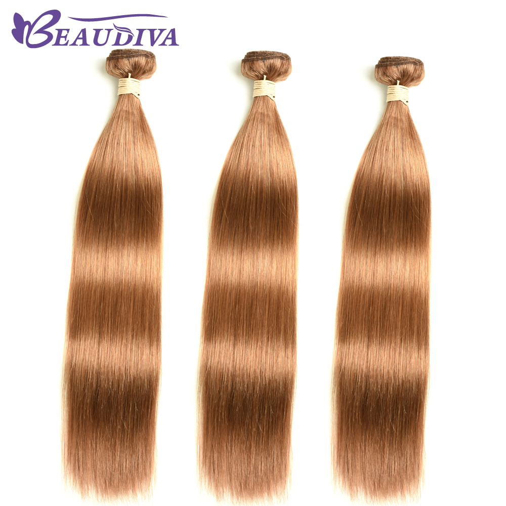 BEAUDIVA  Straight  1/3Bundles Middle Brown 4 27 30 Color  3 Bundles Hair  s 3