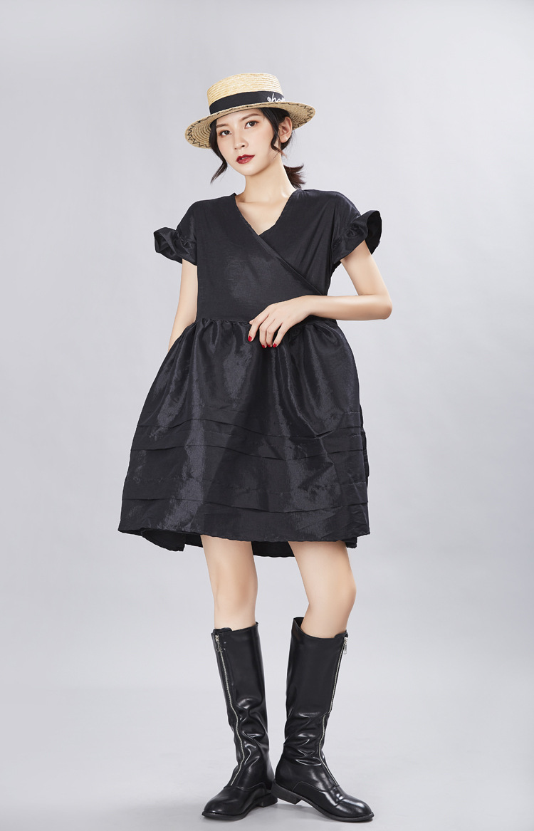 New Fashion Style V- Neck Short Sleeve Ruffles Split Joint Loose Temperament Dress Fashion Nova Clothing