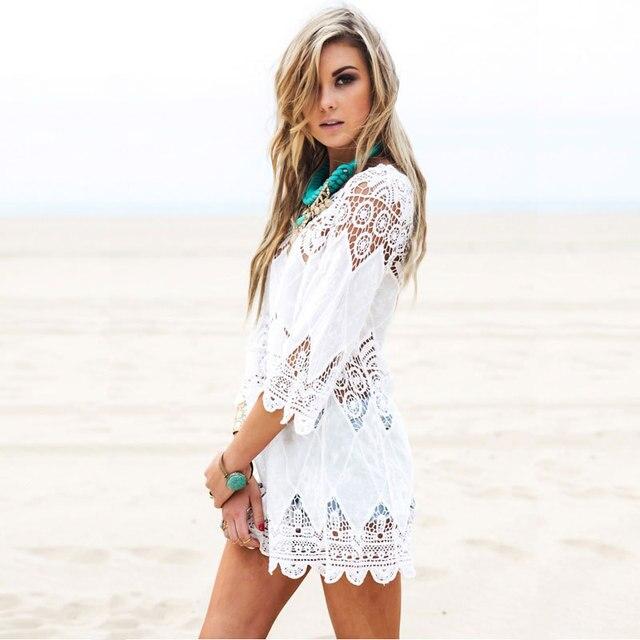 Women's Clothing Beachwear Mid-length Porous Crochet Knit Overclothes Bikini Swimsuit Outdoor Blouse 4