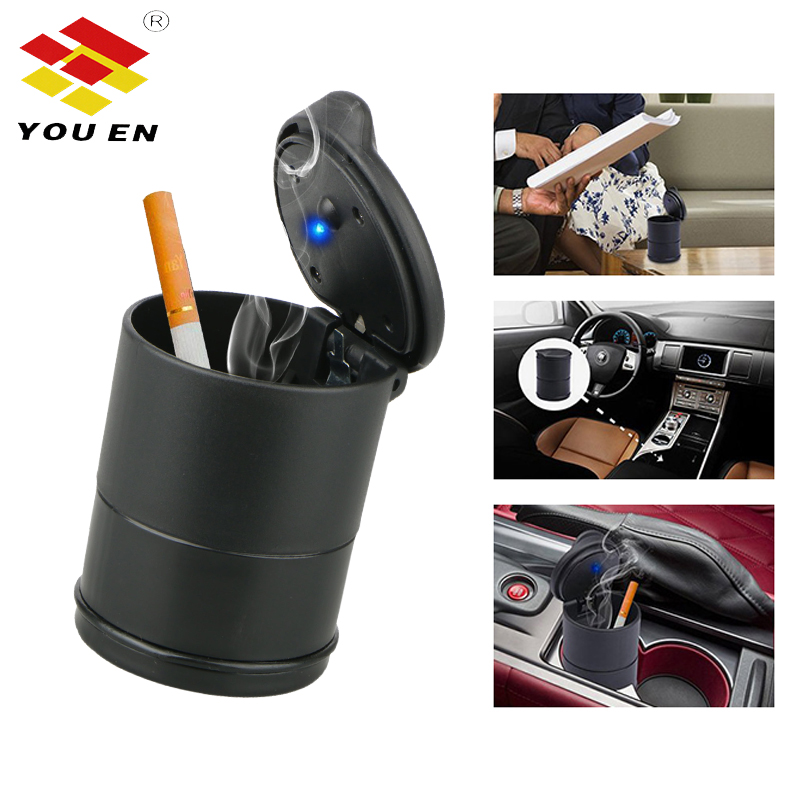 YOUEN Auto Ashtray LED Light Car The Ashes Fireproof Material Easy Clean Car Ashtray Universal Cup Holder Truck Cigarette