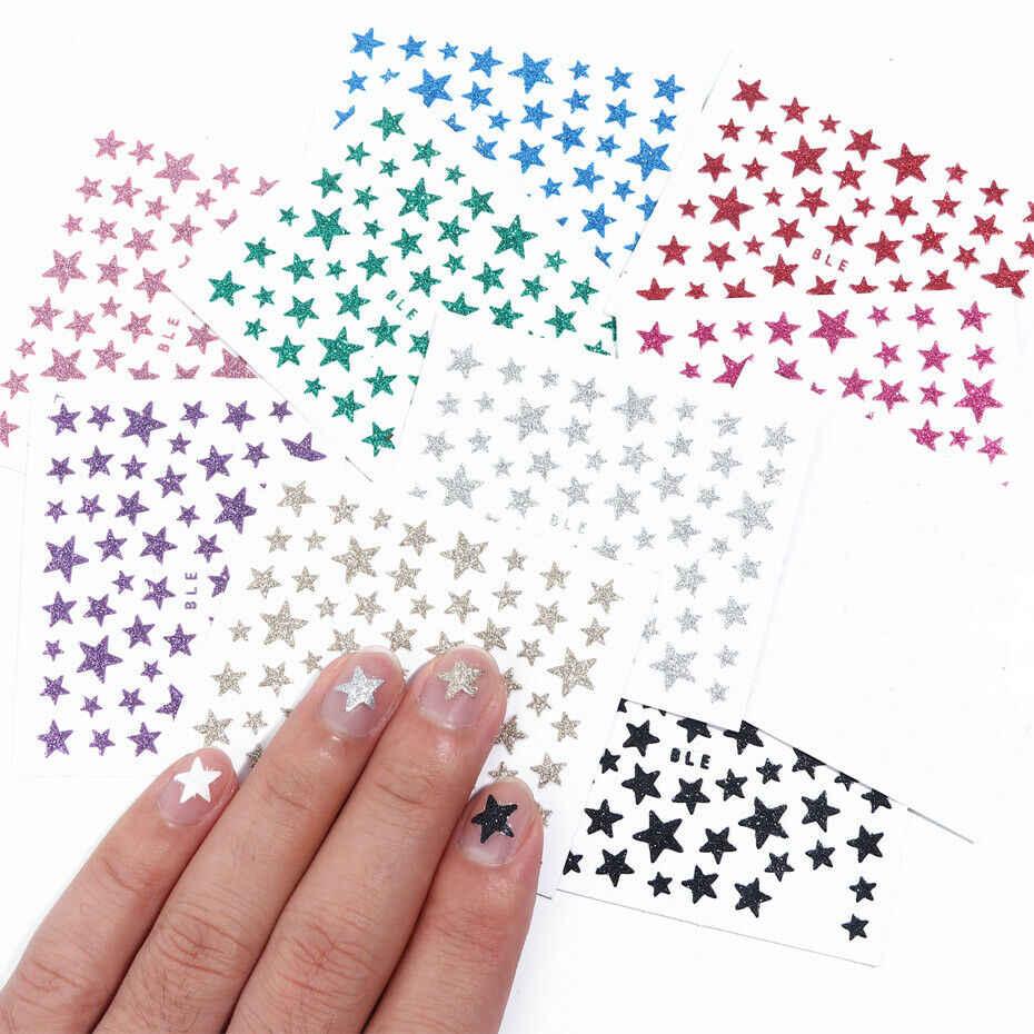 Pegatinas de brillantina brillante de estrellas deslizantes de pegatinas 3D para decoración de uñas, pegatinas de transferencia de agua DIY, puntas de uñas coloridas, decoraciones de manicura